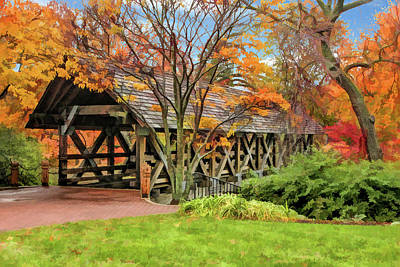 Painting - Naperville Riverwalk Covered Bridge by Christopher Arndt