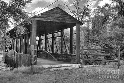Photograph - Napier Township Covered Bridge Black And White by Adam Jewell