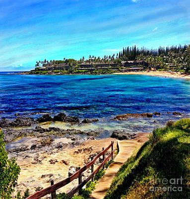 Mixed Media - Napili Beach Gazebo Walkway Shower Curtain Size by Glenn McNary