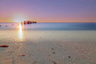 Photograph - Naples Beach Sunset 3rd Ave by Christopher L Thomley