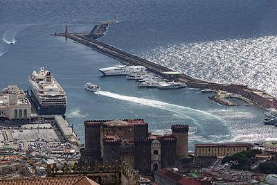 Photograph - Naples Distinctive Harbor In Silver And Blue - Castles And Cruise Ships From Above by Georgia Mizuleva