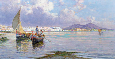 Naples Painting - Naples From Mergellina  by Giuseppe Carelli