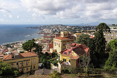 Naples Italy Aerial Perspective - Chiaia And Mergellina Seafront Neighborhoods Art Print