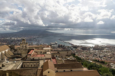 Photograph - Naples Italy Aerial Perspective - God Rays Clouds And Vistas by Georgia Mizuleva
