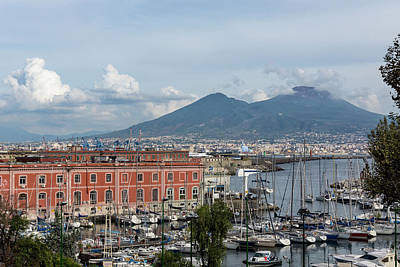 Photograph - Naples Italy Aerial Perspective - The Harbor And Mount Vesuvius by Georgia Mizuleva