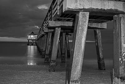 Photograph - Naples Pier At Blue Hour Naples Florida Black And White by Toby McGuire