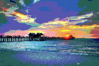 Beach Sunset Mixed Media - Naples Pier Florida by Charles Shoup
