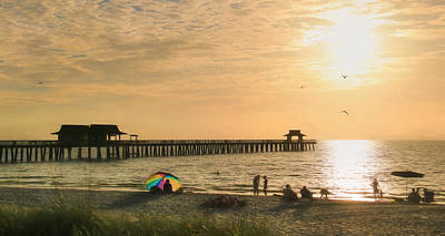 Beach Landscape Mixed Media - Naples Pier by Lori Deiter