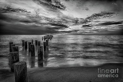 Naples Beach Wall Art - Photograph - Naples Sunset In Black And White by Paul Quinn