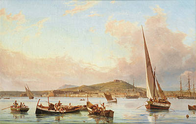 Painting - Naples, View Of The Vomero Hill, From The Sea by Antonie Sminck Pitloo