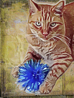 Orange Tabby Digital Art - Napoleon And The Bow by Joan  Minchak