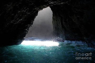 Napoli Coast Sunlit Cave In Kauai Art Print