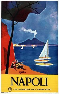 Naples Beach Wall Art - Mixed Media - Napoli - Naples, Italy - Beach - Retro Advertising Poster - Vintage Poster by Studio Grafiikka