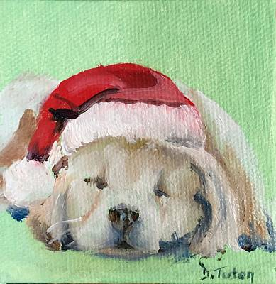 Christmas Painting - Napping Golden Retriever Christmas Puppy by Donna Tuten