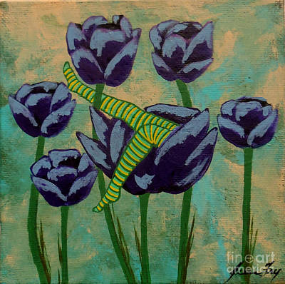Painting - Fairy Napping In The Purple Tulips by Jean Fry