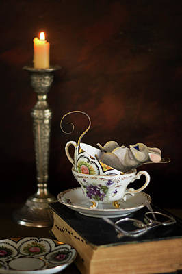 Photograph - Napping Mouse In A Tea Cup by Eleanor Caputo