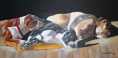 Mastif Painting - Napping With Friends by Valerie Josi