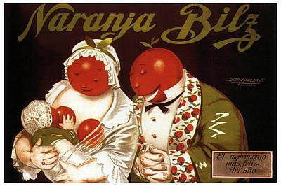 Mixed Media - Naranja Bilz - Orange Soda - Vintage Drinks Advertising Poster By Achille Mauzan by Studio Grafiikka