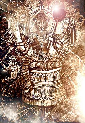 Illuminated Narasimha Dev In Sepia Print by Michael African Visions