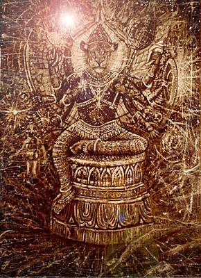 Top With Oil Painting - Narasimha Divine Protector by Michael African Visions