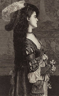 Brunette Drawing - Narcissa by Gustave Jacquet