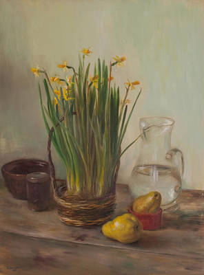 Painting - Narcissus And Pears by Thimgan Hayden