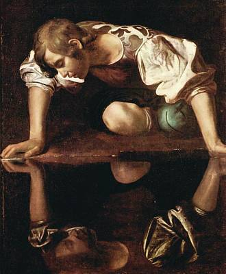 Painting - Narcissus By Caravaggio by Michelangelo Caravaggio