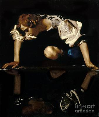 Myths Painting - Narcissus by Caravaggio