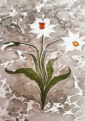 Painting - Narcissus On Marble by Taiche Acrylic Art