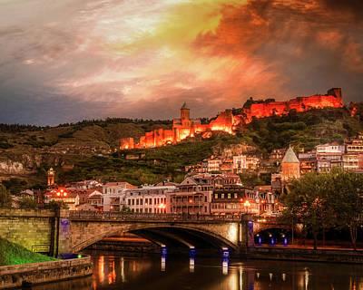 Tbilisi Photograph - Narikala And The River At Night by John Wright