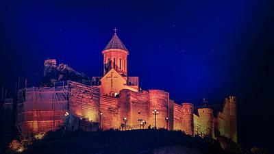 Tbilisi Photograph - Narikala Fortress At Night by John Wright