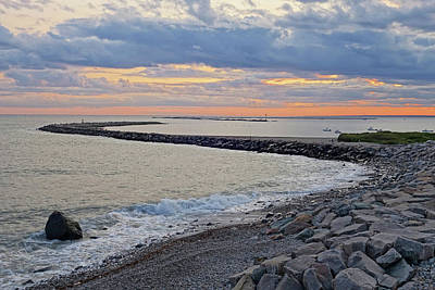 Photograph - Narragansett Ri Judith Point Breakwater At Sunset by Toby McGuire