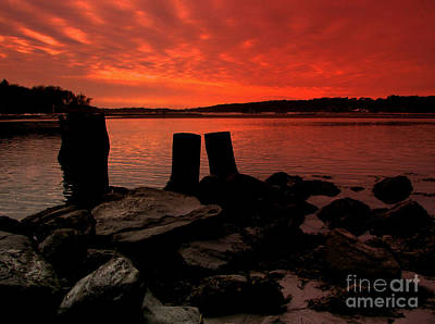 Surrealism Royalty-Free and Rights-Managed Images - Narrow River Sunset by Rick Maxwell