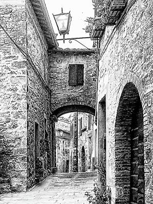 Photograph - Narrow Street Cetona Tuscany Black And White by Dorothy Berry-Lound
