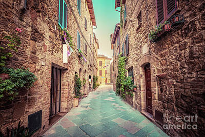 Photograph - Narrow Street In An Old Italian Town Of Pienza. Tuscany, Italy. Vintage by Michal Bednarek