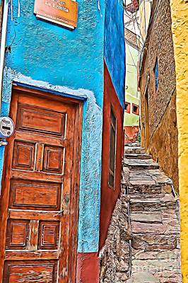 Photograph - Narrow Street In Guanajuato, Mexico - Paint 2 by Tatiana Travelways