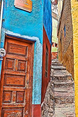 Photograph - Narrow Street In Guanajuato, Mexico - Paint 2 by Tatiana Travelways