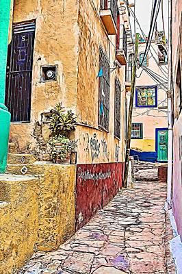 Photograph - Narrow Street In Guanajuato - Paint by Tatiana Travelways