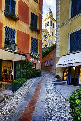 Narrow Street Leading Up To A Church In Portofino Art Print by George Oze