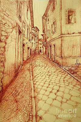 Drawing - Narrow Street Of Lovere Italy by Maja Sokolowska