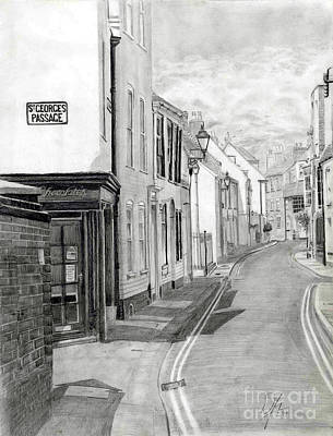 Streetscape Drawing - Narrow Streets Of Deal 2 by William Young