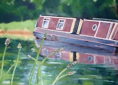 Mixed Media - Narrowboat by YoursByShores Isabella Shores