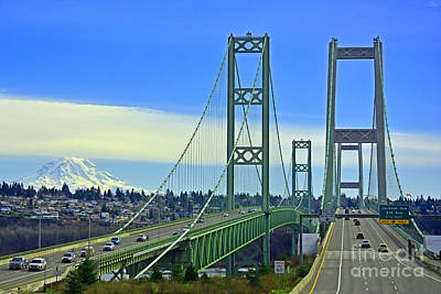 Photograph - Narrows Bridge In Tacoma by Jack Moskovita