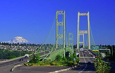 Photograph - Narrows Bridge With Mt Rainier by Jack Moskovita