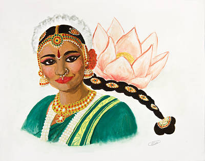 Bharatanatyam Painting - Narthaki And Lotus by Emily Northey