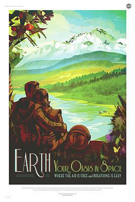 Digital Art - Nasa Earth Poster Art Visions Of The Future by Erik Paul