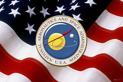 Digital Art - N A S A Emblem Over American Flag by Serge Averbukh