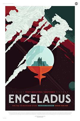 Digital Art - Nasa Enceladus Poster Art Visions Of The Future by Erik Paul