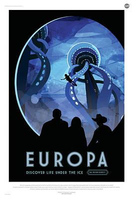 Digital Art - Nasa Europa Poster Art Visions Of The Future by Erik Paul