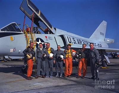 Photograph - Nasa Mercury Astronauts Standing Beside A Convair 106 B Aircraft by R Muirhead Art